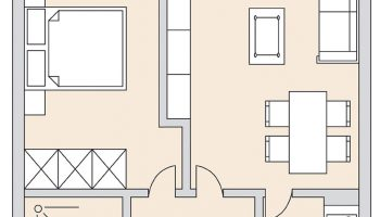 Grundriss einer 2-Zimmer-Wohnung in Schlangenbad Rheingau